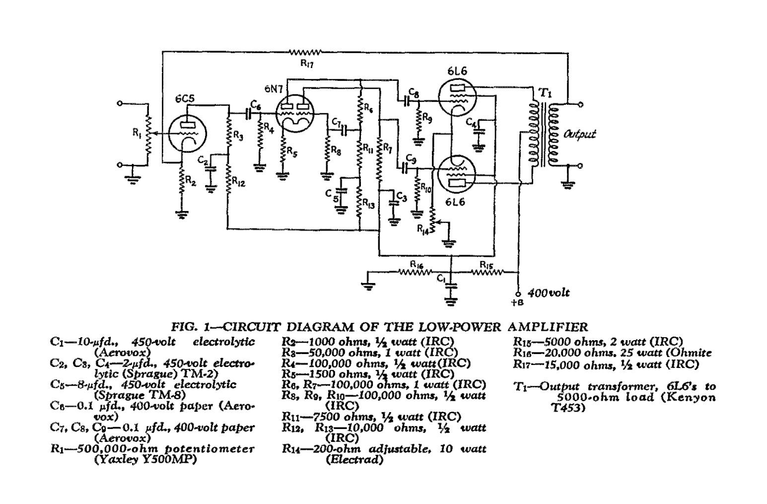 Усилитель в классе АБ1, на 6C5 6N7 6L6 (1940 год)